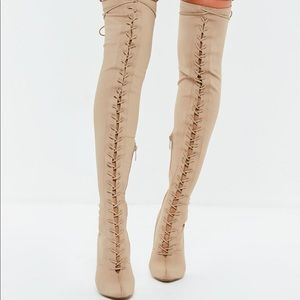 Shoes - Tan Lace up Thigh Boots size 9